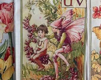 Flower Fairy Alphabet Panel Remnant, Quilting Crafting fabric