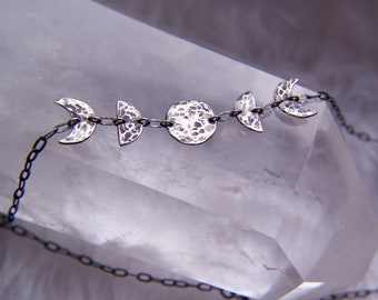 Sterling silver moon phases choker, moon phase symbol necklace