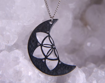 Sterling silver flower of life moon necklace, sacred geometry seed of life crescent moon pendant