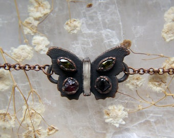 Quartz, garnet, CZ butterfly choker, electroformed copper crystal chain choker