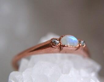 Rainbow moonstone rough diamond copper ring size 6.75, electroformed handmade crystal gemstone delicate ring