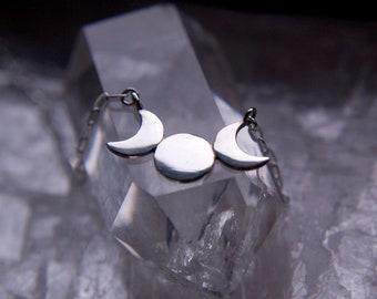 Sterling silver triple moon choker, triple goddess moon symbol necklace