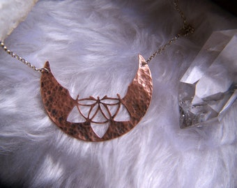 Sterling silver copper seed of life moon choker, sacred geometry flower of life crescent moon necklace