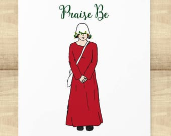 """Handmaid's Tale """"Praise Be"""" holiday greeting card with matching envelope"""