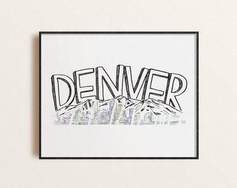 Denver Skyline Block Text Foil Art Print