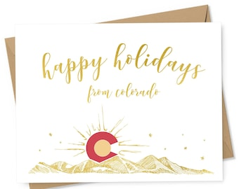 Happy Holidays from Colorado gold foil card with matching envelope, Denver skyline, Colorado holiday cards; BLANK INSIDE