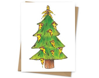 Pizza Tree, pepperoni pizza Christmas tree, holiday card for pizza lovers, envelope included; BLANK INSIDE