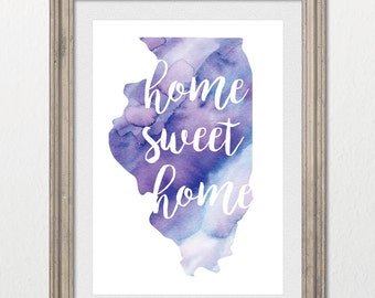 Illinois Home Sweet Home Watercolor 8x10 inch wall print; state of IL