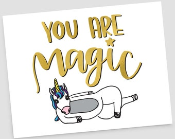 Unicorn You Are Magic thank you greeting card, envelope included, BLANK INSIDE