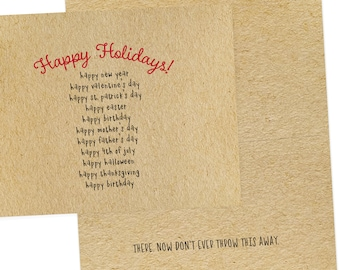 Happy Holidays happy everything greeting card, envelope included