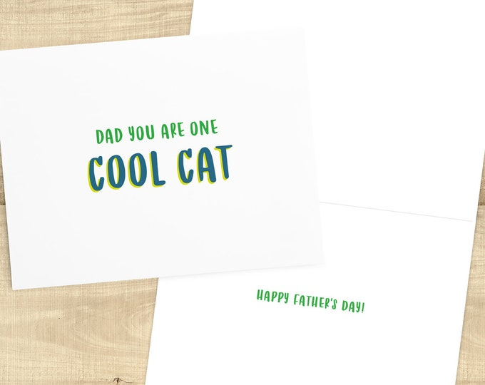Featured listing image: Dad You Are One Cool Cat, Happy Father's Day greeting card and envelope; card for dad