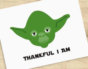 Thankful I Am Yoda Star Wars character greeting card; blank inside