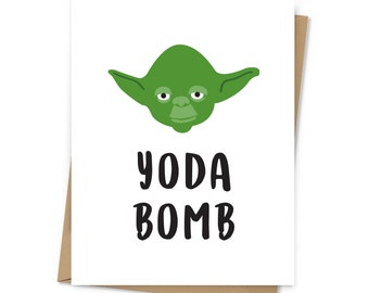 Yoda Bomb Thank You card; Star Wars character greeting card; blank inside