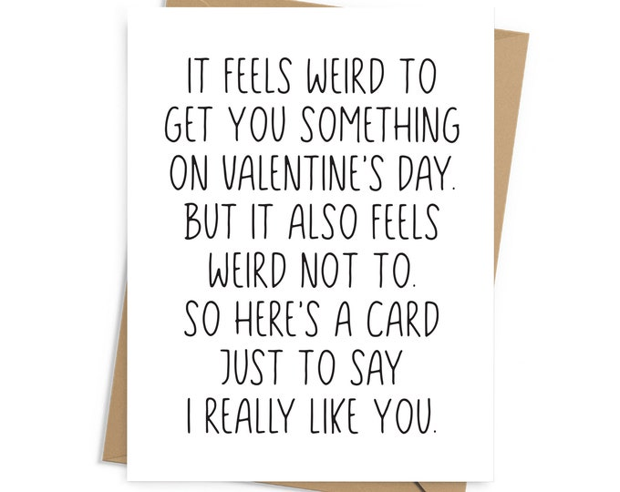 Featured listing image: Funny Valentine's Day card for new couples, newly dating; envelope included, BLANK INSIDE