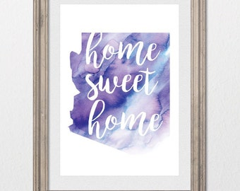 Arizona Home Sweet Home Watercolor 8x10 inch wall print; state of AZ