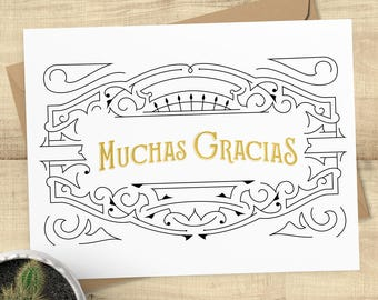 Muchas Gracias gold foil thank you greeting card with matching envelope, BLANK INSIDE