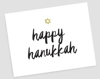 Happy Hanukkah, gold star of David greeting card and envelope