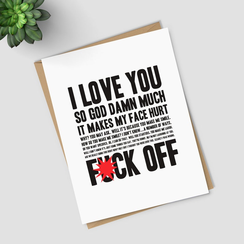 i love you f off mature greeting card funny couples card
