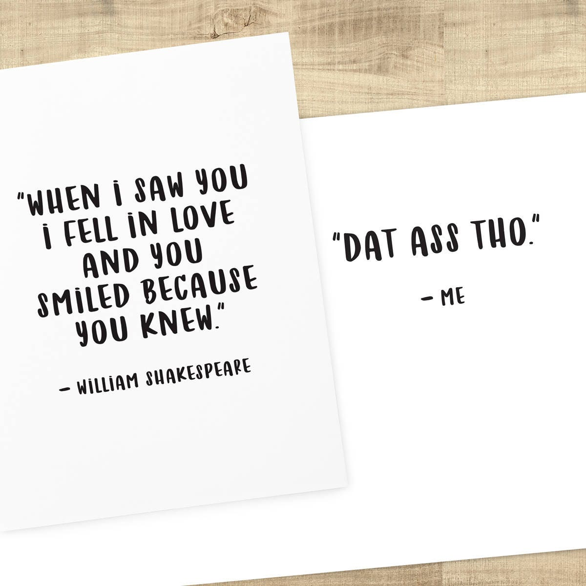 Funny Love Card William Shakespeare Smile Quote Inside Dat A S Tho