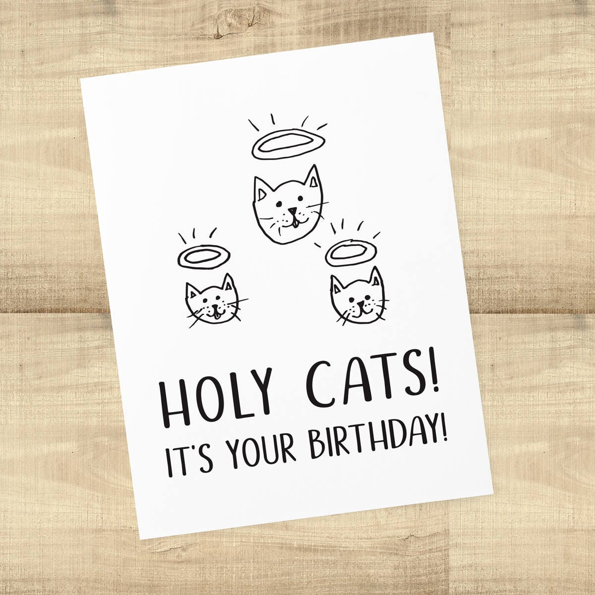 Holy Cats Its Your Birthday Card For Cat Lovers Blank Inside Envelope Included