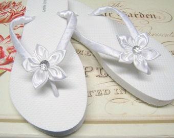 f206e131d0dc4e White Floral Bridal Flip Flops   Bridesmaid