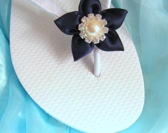7357b304f Navy Nautical Flip Flops   Wedding Flip Flops   Bridesmaid gifts