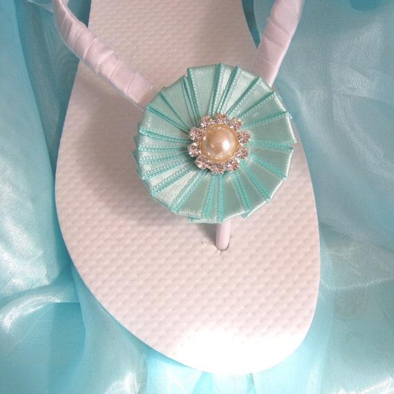 2693b014ec44f2 Robin Egg Blue Wedding Flip FlopsBridesmaids Flower girls