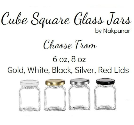 Nakpunar 6 oz Cube Glass Square Jars with Gold Lids 12 pcs