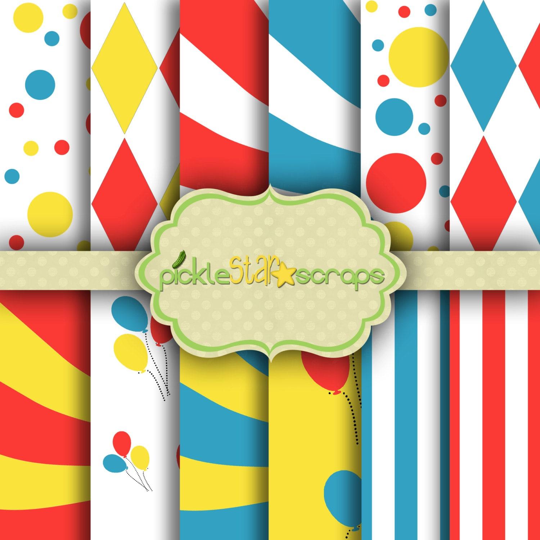 Carnival1 circo de 12 x 12 papel circo circo imprimible fiesta | Etsy