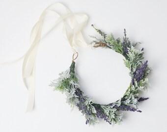 Flower Crown, Dusty Miller, Greenery, Lavender, Purple, Boho Wedding Crown, Woodland, Boho Flower Crown, Floral Crown, Flower Headpiece