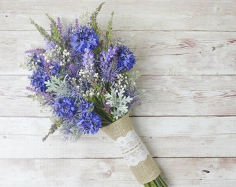 Artificial Wildflowers Cornflower Purple 3 Stems £11.99 Top Quality
