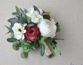 Wedding Bouquet, Bridal Bouquet, Boho Bouquet, Fall Bouquet, Rustic Bouquet, Peony Bouquet, Wedding Flowers, Greenery, Eucalyptus, Red