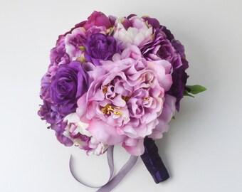 Wedding Bouquet, Purple Bouquet, Peony Bouquet, Silk Bouquet, Silk Flowers, Silk Peonies, Purple Peony Bouquet, Vibrant Bouquet, Lavender
