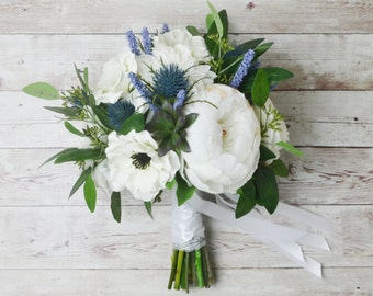Silk Boho Bouquet - Peony Bouquet, Silk Peonies, Anemones, Thistles, White Bouquet, Wedding Bouquet, Boho Chic Bouquet, Cream, Blue Bouquet