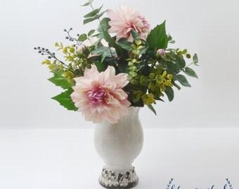 Silk Flower Arrangement with Vase, Floral Arrangement, Eucalyptus, Dahlia, Pink, Green Flower Arrangement, Kitchen Decor, Home Decor