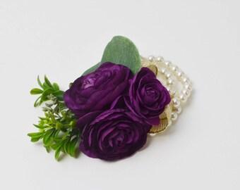 Purple Wrist Corsage, Wrist Corsage, Wedding Corsage, Prom Corsage, Purple, Gold, Ranunculus, Wedding Flowers, Silk Flower Corsage