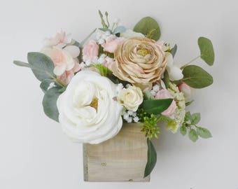 Flower arrangements etsy floral arrangement wedding flowers centerpiece flower arrangement artificial flowers wedding decor silk flower arrangement beige box mightylinksfo
