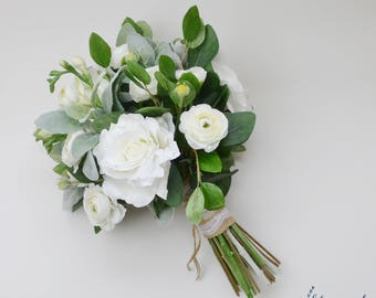 Wedding Flowers Wedding Bouquet White Bouquet Eucalyptus Etsy
