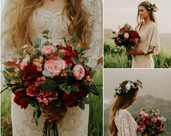 Wedding bouquet burgundy etsy wedding bouquet wedding flowers boho bouquet bridal bouquet pink red burgundy eucalyptus wedding flower set destination wedding mightylinksfo