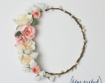 Silk flower crown etsy floral crown peach and cream silk flower crown wildflower crown boho flower crown wedding bridesmaid pink flower crown boho wedding mightylinksfo