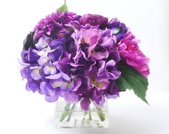 Silk Flower Arrangement, Peony Arrangement, Silk Peonies, Silk Flowers, Home Decor, Wedding Bouquet, Rustic, Flowers, Centerpiece, Vase