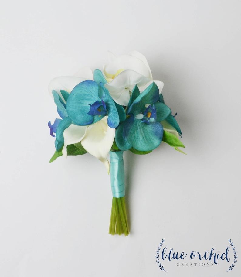 Real Touch Bouquet Turquoise Bridesmaid Bouquet Beach Bouquet Tropical Bouquet Malibu Blue Destination Wedding Orchid Bouquet Teal