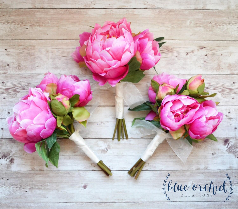 Peony bridesmaid bouquet hot pink peony bouquet pink etsy zoom mightylinksfo