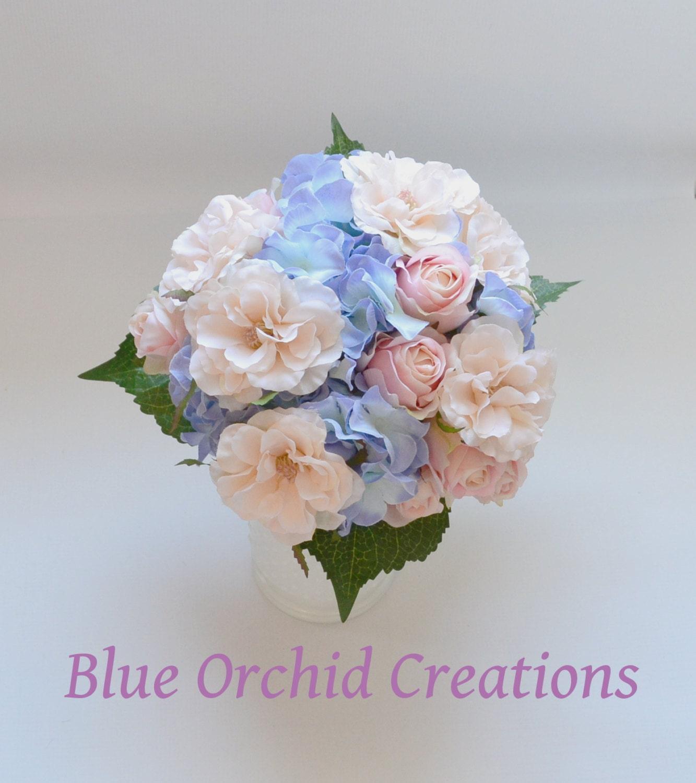Hydrangea Bouquet Blue Hydrangeas Country Wedding Bouquet Etsy