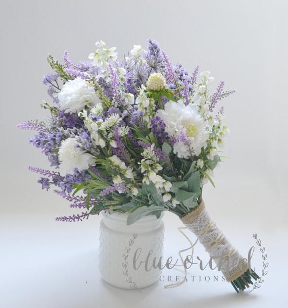 Wildblumen Brautstrauss Strauss Rustikal Lavendel Wildflower Etsy