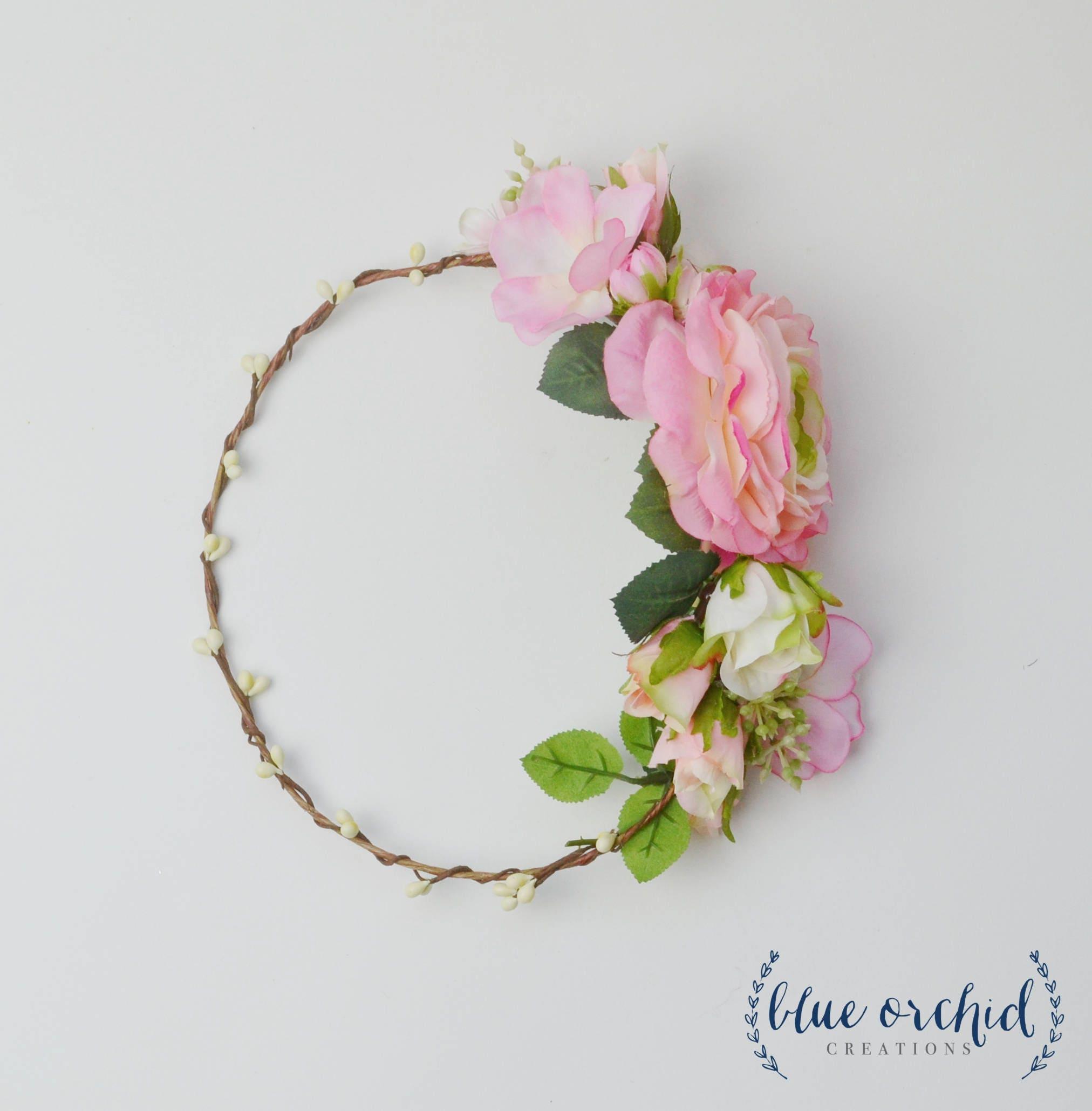 Flower crown silk flower crown floral crown peony flower etsy zoom izmirmasajfo