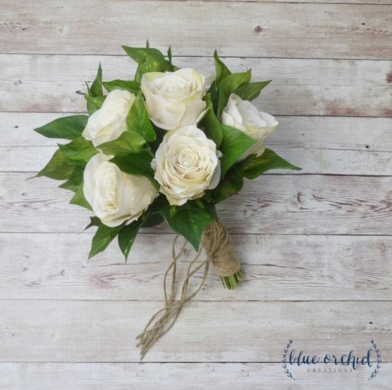 Silk Rose Bouquet Ivory Rose Bouquet Wedding Bouquet Fall Etsy