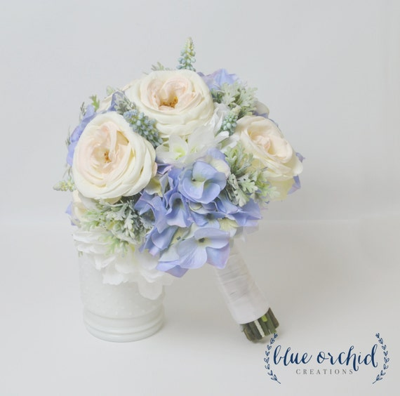 Blue Hydrangea Bouquet With Blush Garden Roses And Dusty   Etsy