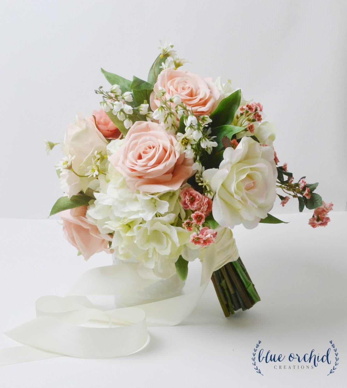 Peach Wedding Bouquet Boho Bouquet Silk Wedding Bouquet