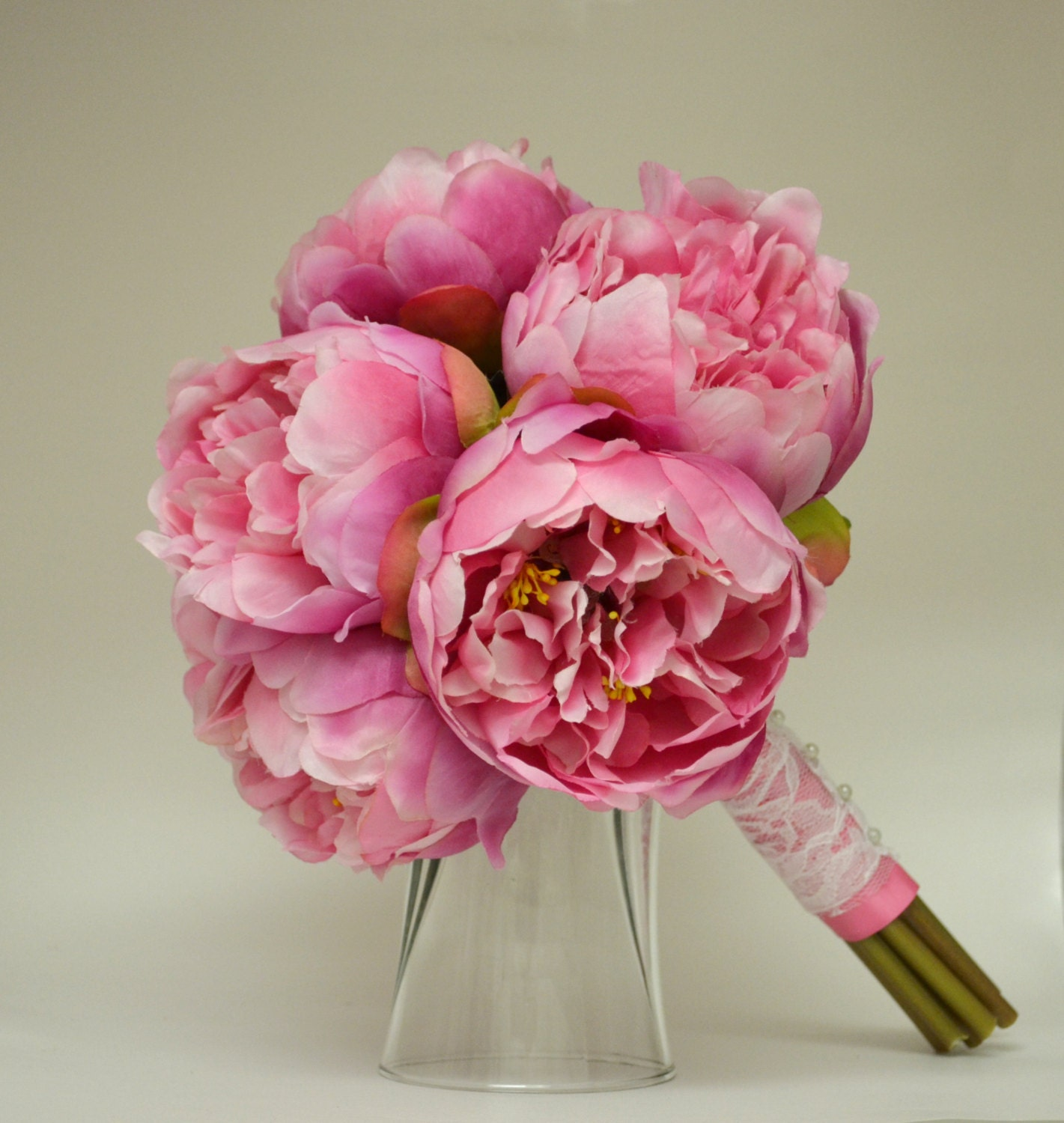 Silk peony bouquet hot pink peonies shabby chic peony flowers rustic chic lace pink silk bouquet bridesmaid bouquet vintage inspired zoom izmirmasajfo